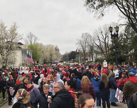Teachers protesting in Frankfort today for education funding