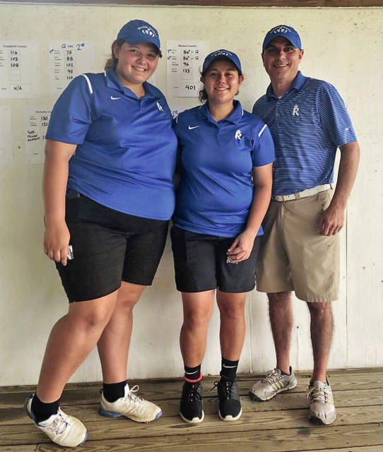 7ba3b514f158b Mason County's Charity Arn (left) and Haley White (middle) qualified for  the state tournament as the pair shot 86's during the 8th Region Girls'  Golf ...