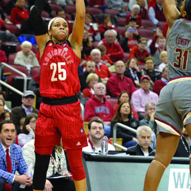 b134d42669ea Louisville guard Asia Durr (25) shoots over the defense of Boston College  guard Sydney Lowery (31) during the second half of in Louisville