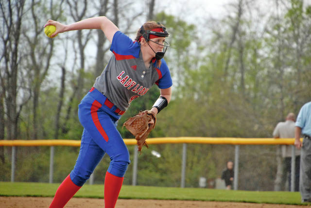 243037248ca Lewis County's Emily Cole delivers a pitch against Mason County, Tuesday,  April 23, in Maysville. - Jared MacDonald, The Ledger Independent