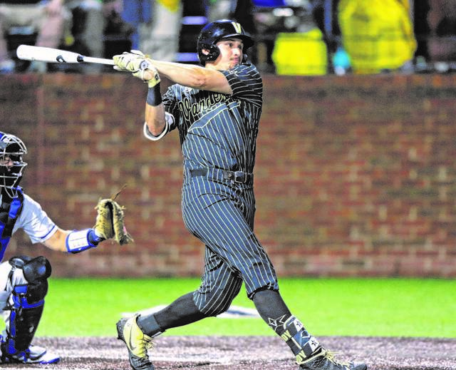 on sale 21787 4c92f FILE - In this June 7, 2019, file photo, Vanderbilt s JJ Bleday follows  through on a hit during the second inning of the team s NCAA college super  regional ...