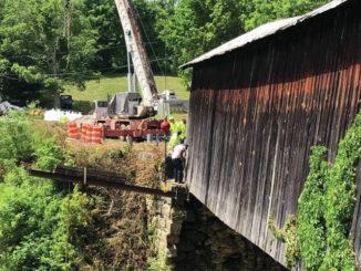 Beam placed to stabilize bridge