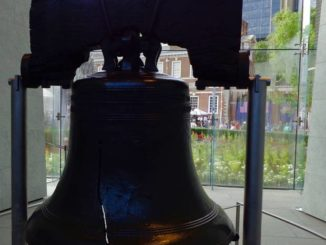 The Liberty Bell is housed in Liberty Bell Center, a glass pavilion on Independence Mall in Philadelphia.
