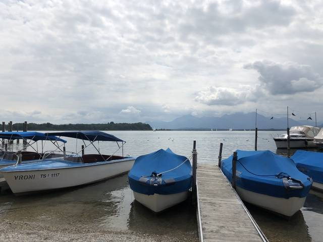 <p>Renting a boat on Chiemsee provides one way visitors can explore the lake.</p>