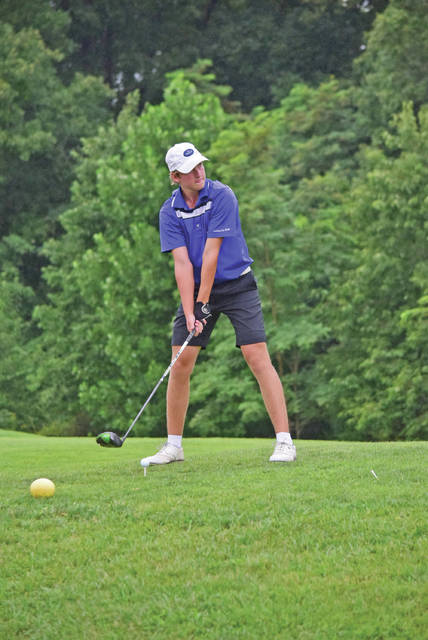 <p>Lewis County's Logan Liles tied for first place at the Rowan County Invitational at Eagle Trace Golf Course on Friday. Liles shot a two-under-par 70. (Brad Laux, 1016 Sports) </p>