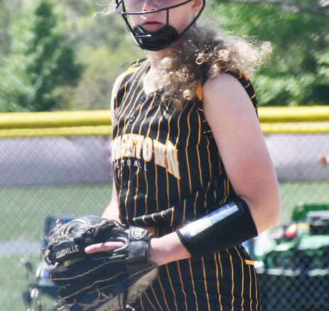 Georgetown's Abby Staker looks toward the dugout for the sign against Bethel-Tate.