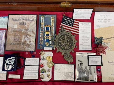 This is some of the memorabilia included in the Limestone Chapter DAR exhibit at the Kentucky Gateway Museum Center. The local chapter is celebrating its 100th birthday this year.