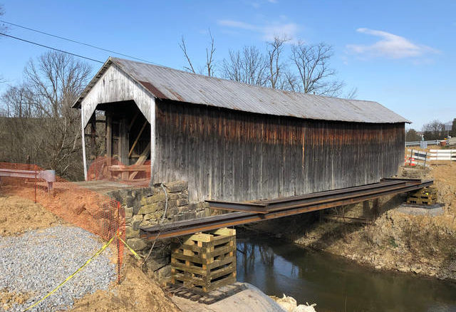 Grange City Covered Bridge with its steel support beams in place.
