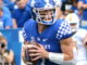 Kentucky quarterback Will Levis drops back to make a pass in the Wildcats' narrow win over Tennessee Chattanooga last Saturday at Kroger Field. (Kentucky Today/Keith Taylor)