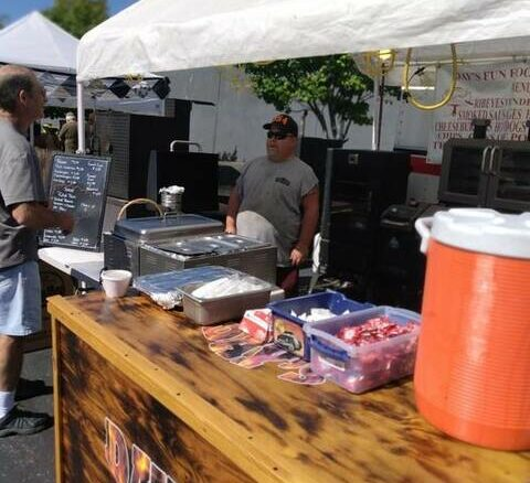 Vendors were preparing to serve up lots of barbecue Friday and Saturday for Pigout in Maysville.