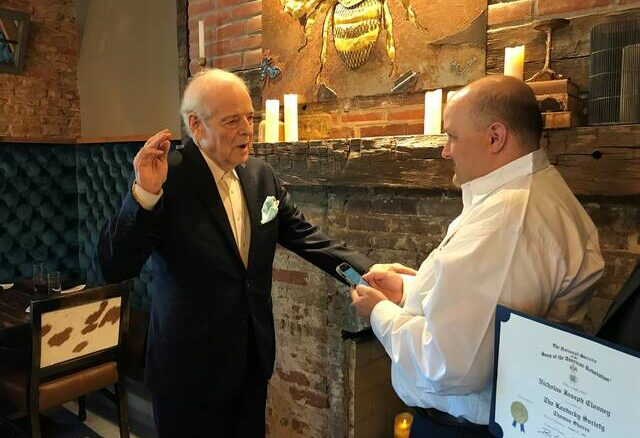 Nick Clooney was sworn into the SAR by President General Davis Lee Wright.